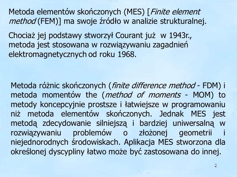 FEM - MES Metoda elementów skończonych (MES) [Finite element method (FEM)] ma swoje źródło w analizie strukturalnej.